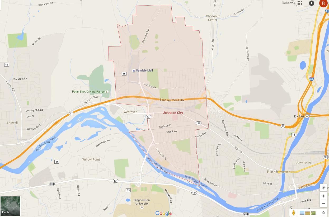 johnson city ny map . maps  lawn mowing in binghamton